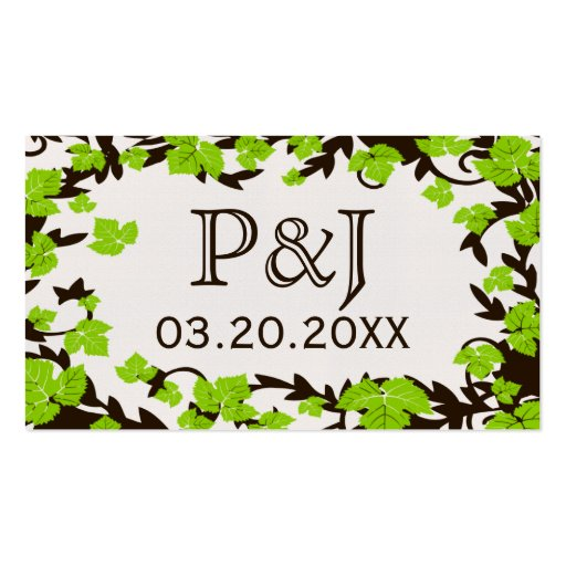 Green Brown Spring Leaves Place Cards Double-Sided Standard Business Cards (Pack Of 100)