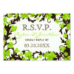 """Green Brown Spring Leaves RSVP Cards 3.5"""" X 5"""" Invitation Card"""