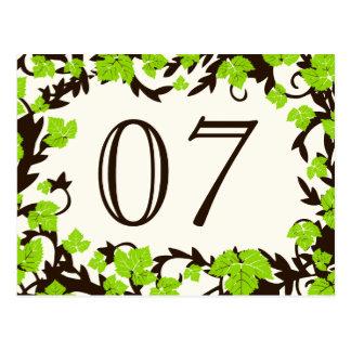 Green Brown Spring Leaves Table Numbers Postcard