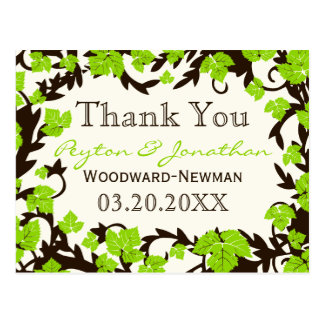 Green Brown Spring Leaves Thank You Postcard