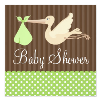 Green Brown Stork Dots Gender Neutral Baby Shower 5.25x5.25 Square Paper Invitation Card