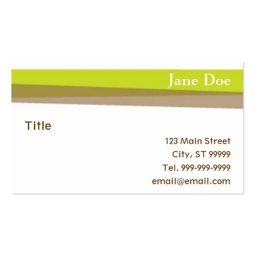 Green & Brown Stripes Business Cards