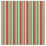 [ Thumbnail: Green & Brown Stripes Pattern Fabric ]