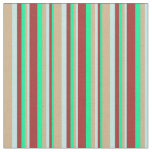 [ Thumbnail: Green, Brown, Turquoise, and Tan Stripes Fabric ]