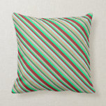 [ Thumbnail: Green, Brown, Turquoise, and Tan Stripes Pillow ]