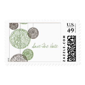 Green & Brown Twine Globes Save The Date Postage Stamp