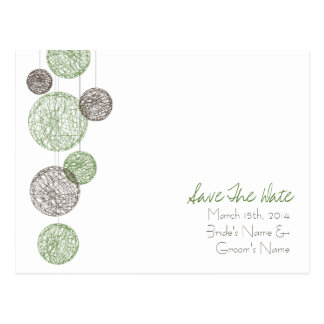 Green & Brown Twine Globes Wedding Save The Date Postcard
