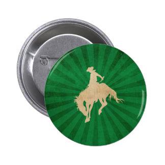Green Brown Vintage Cowboy 2 Inch Round Button