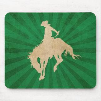 Green Brown Vintage Cowboy Mouse Pad
