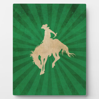 Green Brown Vintage Cowboy Photo Plaques
