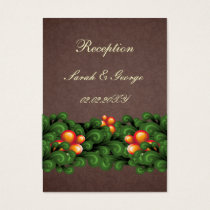 green brown wedding Reception Cards