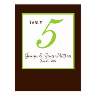 Green Brown Wedding Table Number Card