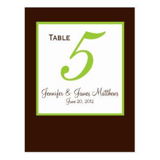 Green Brown Wedding Table Number Card Postcard