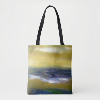 Green Brown White Abstract Tote Bag