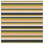 [ Thumbnail: Green, Brown, White, and Black Stripes Pattern Fabric ]