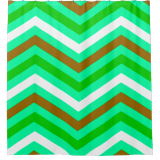 Brown And White Chevron Shower Curtains | Zazzle