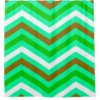 Green chevron shower curtains zazzle - Green curtain patterns ...