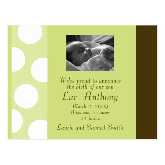 Green Brown White Dots Postcard (Customizable)