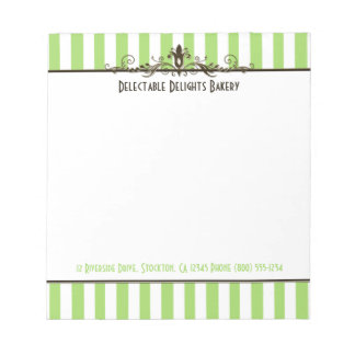 Green, Brown, White, Striped & Scrolled Notepad