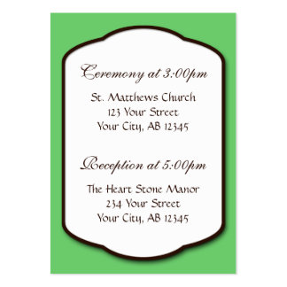 Green Brown & White Wedding Guest Reference Cards