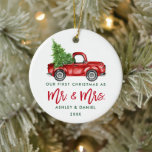 "Green Brush Script First Christmas Red Truck Ceramic Ornament<br><div class=""desc"">Modern Green Brush Script Our First Christmas as Mr. and Mrs. - Watercolor Vintage Red Truck Ornament</div>"