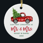 "Green Brush Script First Christmas Red Truck Ceramic Ornament<br><div class=""desc"">Modern Green Brush Script Our First Christmas as Mr. and Mrs. - Watercolor Vintage Red Truck Ornament</div>"