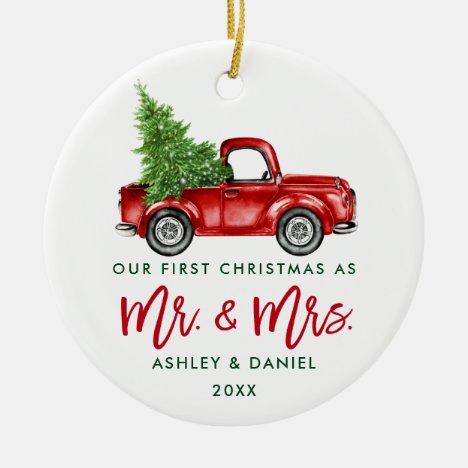 Green Brush Script First Christmas Red Truck Ceramic Ornament