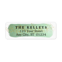 Green Brushstroke Return Address Label