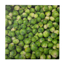 Green Brussels sprout vegetable pattern Ceramic Tile