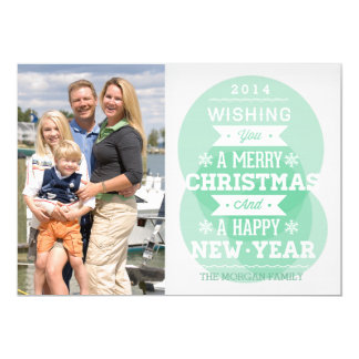 Green bubble typography Christmas holiday photo 5x7 Paper Invitation Card