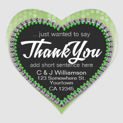 Green Bubbles Thank You Heart Shape Stickers