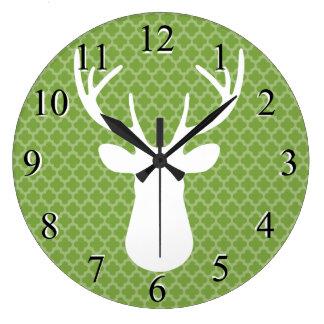 Green Buck Deer Head Silhouette Wall Clock