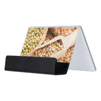 Green Buckwheat, Wheat, Oat And Mung - Cereal Desk Business Card Holder