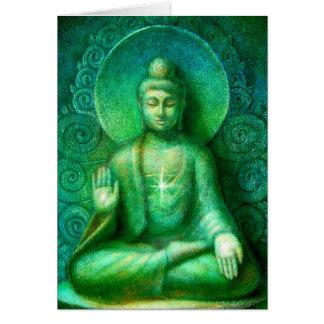 Green Buddha Greeting Cards