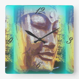 green buddha face square wall clock