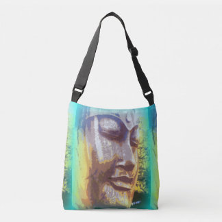 green Buddha faces Tote Bag