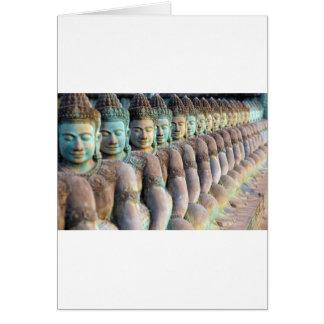 Green Buddha statues Siem Reap Cambodia Card