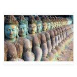 Green Buddha statues Siem Reap Cambodia Postcard