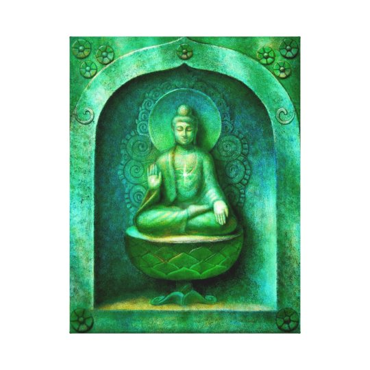 """Green Buddha"" Wrapped Canvas Print"