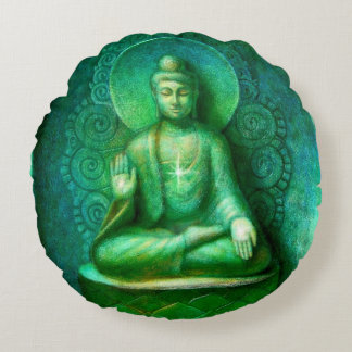 Green Buddha Zen Meditation Round Pillow