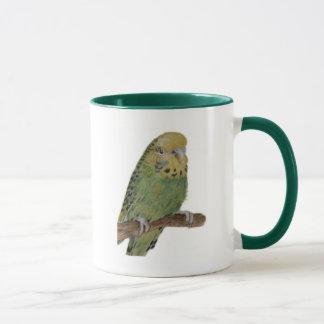 green budgie art mug