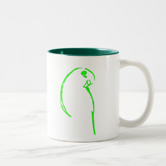 Green Budgie Two-Tone Coffee Mug