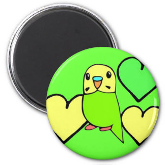 Green Budgie with Hearts 2 Inch Round Magnet
