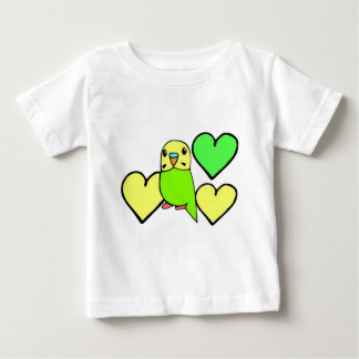 Green Budgie with Hearts Baby T-Shirt