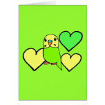 Green Budgie with Hearts Card