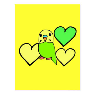 Green Budgie with Hearts Postcard