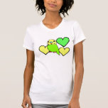 Green Budgie with Hearts T-shirt