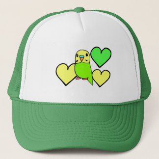 Green Budgie with Hearts Trucker Hat