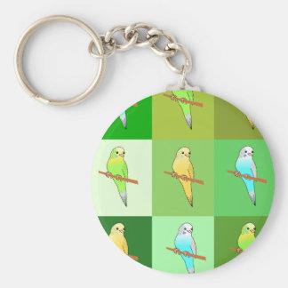 Green Budgies Tiles Design Keychain