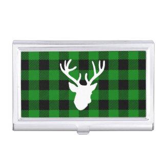 Green Buffalo Plaid Deer Head Business Card Case